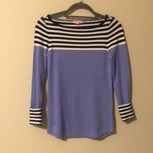 🌴Lilly Pulitzer Lavender and Navy Stripe Sweater